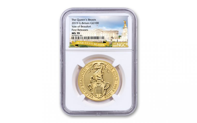 2019 Great Britain £100 1-oz Gold Queen's Beasts Yale of Beaufort NGC MS70 First Releases