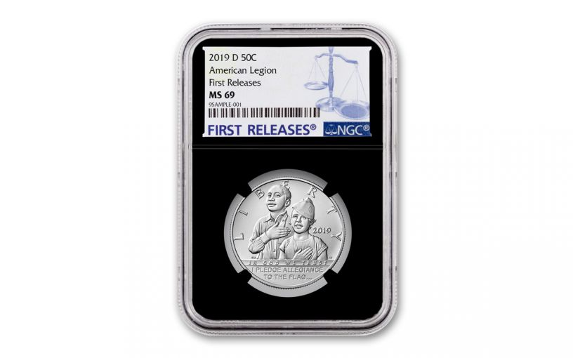 2019-D Clad Half Dollar American Legion 100th Anniversary Commemorative NGC MS69 First Releases - Black Core