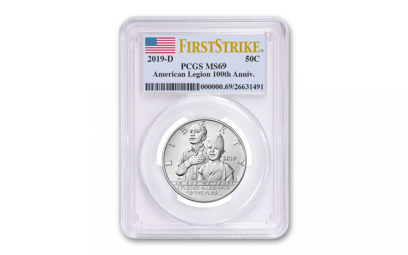 2019-D Clad Half Dollar American Legion 100th Anniversary Commemorative PCGS MS69 First Strike - Flag Label