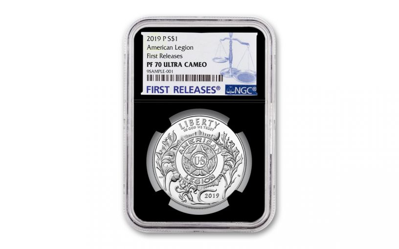 2019-P Silver Dollar American Legion 100th Anniversary Commemorative NGC PF70UC First Releases - Black Core