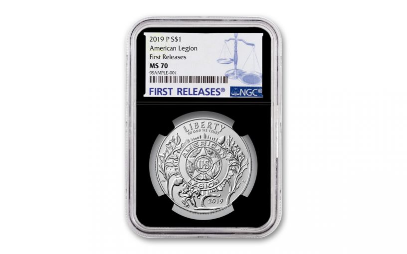 2019-P Silver Dollar American Legion 100th Anniversary Commemorative NGC MS69 First Releases - Black Core