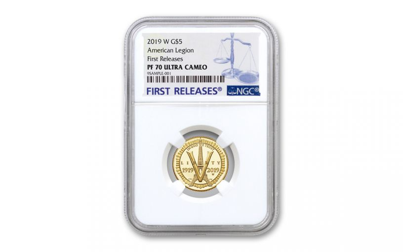 2019-W $5 Gold American Legion 100th Anniversary Commemorative NGC PF70UC First Releases