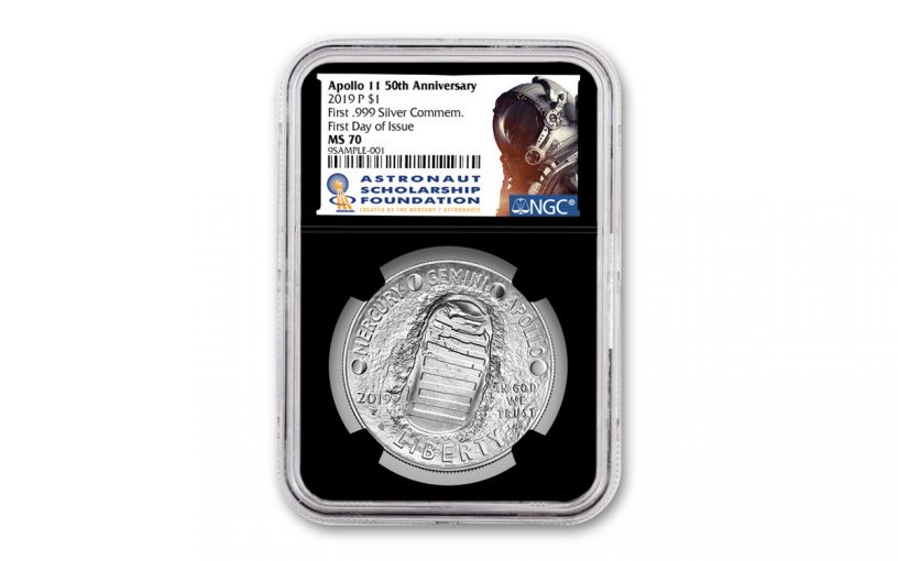 2019-P Apollo 11 50th Anniversary Silver Dollar NGC MS70 First Day of Issue - Black Core, Astronaut Scholarship Foundation Label