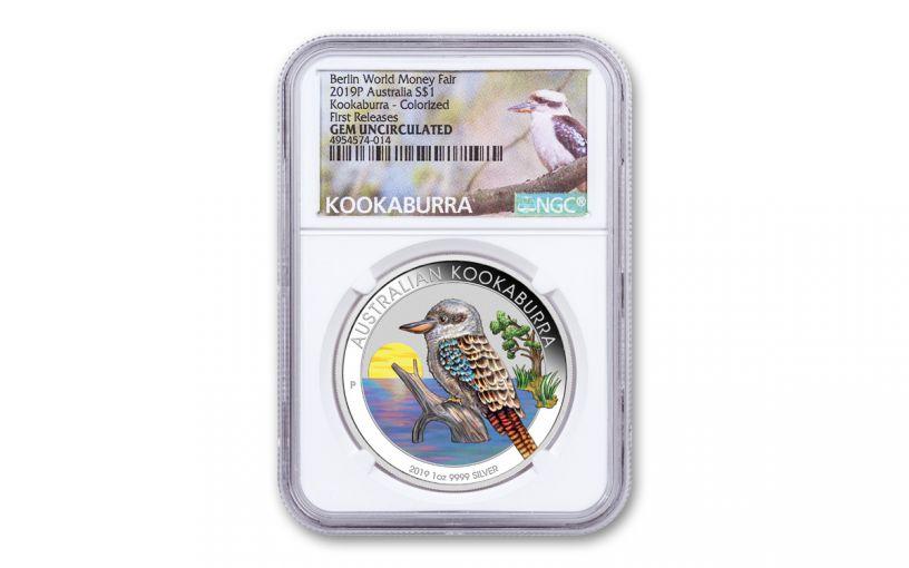 2019 Australia $1 1-oz Silver Berlin World Money Fair Kookaburra NGC Gem Unc First Releases - Exclusive Kookaburra Label