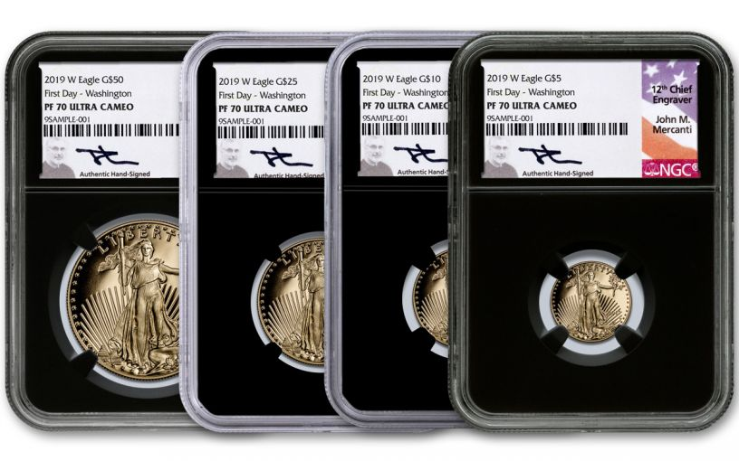 2019-W Gold American Eagle 4-Piece Set NGC PF70UC First Day of Issue - Black Core, Mercanti Signed Labels, Washington D.C.