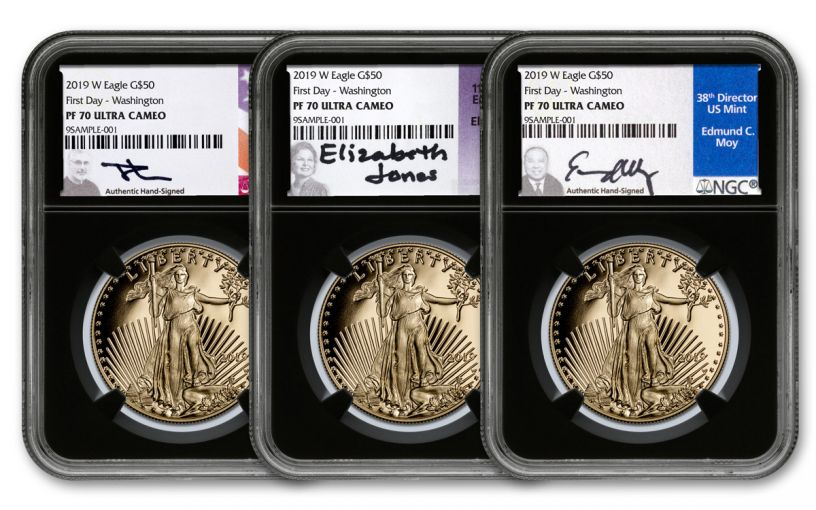 2019-W $50 1-oz Gold American Eagle 3-Piece Set NGC PF70UC First Day of Issue - Black Core, Jones/Mercanti/Moy Signed Labels, Washington D.C.