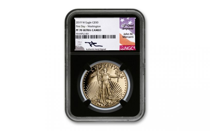 2019-W $50 1-oz Gold American Eagle NGC PF70UC First Day of Issue - Black Core, Mercanti Signed Label, Washington D.C.