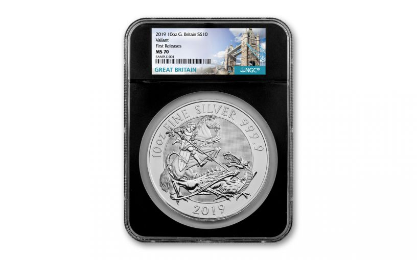 2019 Great Britain £10 10-oz Silver Valiant Saint George Incuse NGC MS70 First Releases - Black Core, Tower Bridge Label