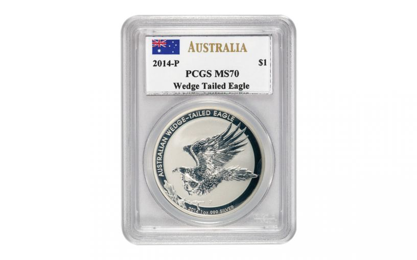 2014 Australia $1 1-oz Silver Wedge-Tailed Eagle PCGS MS70 Mercanti Signed w/Spot Error