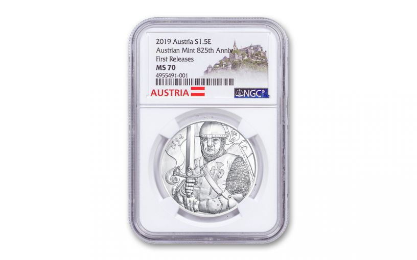 2019 Austria 1-oz Silver Leopold V 825th Anniversary of Vienna Mint NGC MS70 First Releases