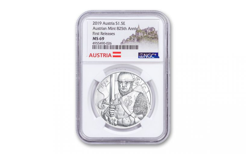 2019 Austria 1-oz Silver Leopold V 825th Anniversary of Vienna Mint NGC MS69 First Releases