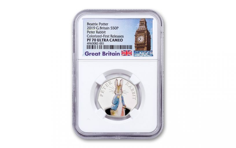 2019 Great Britain 8 Gram Silver Peter Rabbit NGC PF70UC First Releases - Great Britain Label