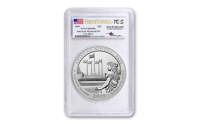 2019 5-oz Silver Quarter America the Beautiful American Memorial Park PCGS MS69PL First Strike - Mercanti Signed Label