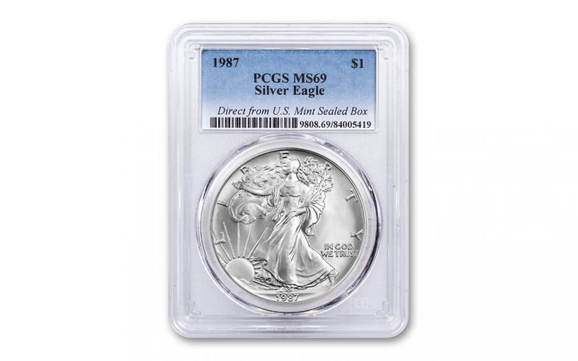 1987 $1 1-oz Silver American Eagle PCGS MS69 - Direct from U.S. Mint Sealed Box