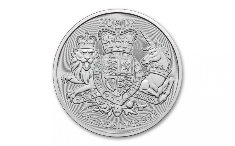 2019 Great Britain £2 1-oz Silver Royal Arms BU