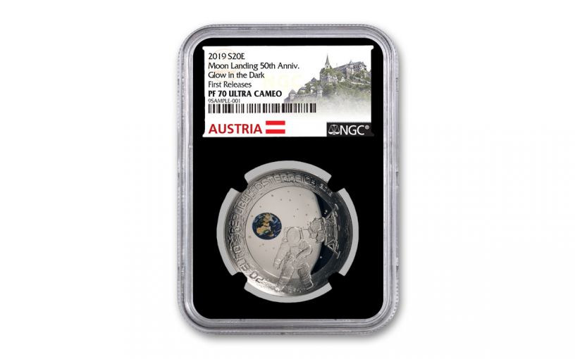 2019 Austria Silver 50th Anniversary Moon Landing Domed Proof NGC PF70UC First Releases w/Black Core & Austria Label