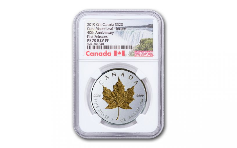 2019 Canada $20 1-oz Silver Gilt Double Incuse Maple Leaf Reverse Proof NGC PF70UC First Releases w/Canada Label