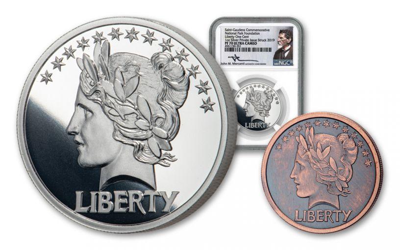 1907-2019 1-oz Silver Last Coin of Saint-Gaudens National Parks Medal NGC PF70UC – Mercanti Signed Label + Bonus 1/10-oz CuNi Antiqued Medal