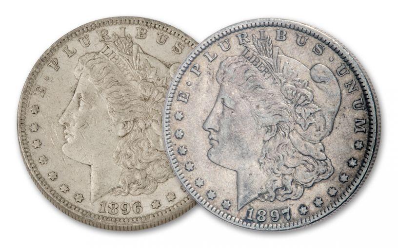 1896–1897-O $1 Morgan Silver Dollar 2-Coin Set XF