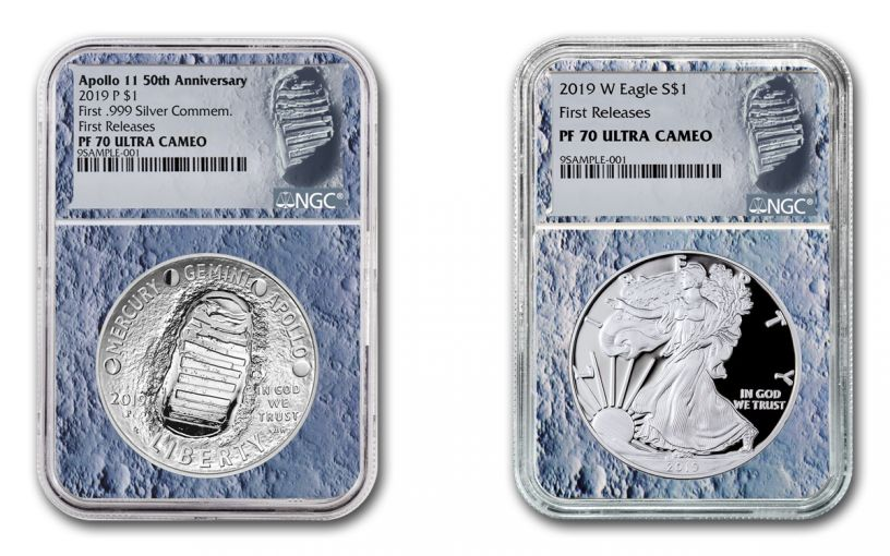 2019 $1 1-oz Silver Eagle & Apollo 11 Commemorative 2-Piece Set NGC PF70UC First Releases - Moon Core, Astronaut Footprint Label