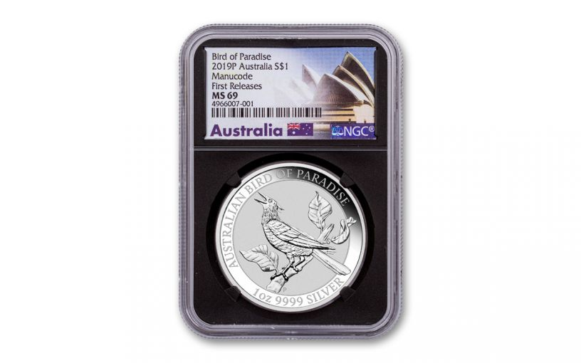 2019 Australia $1 1-oz Silver Bird of Paradise NGC MS69 First Releases – Black Core w/Sydney Opera House Label