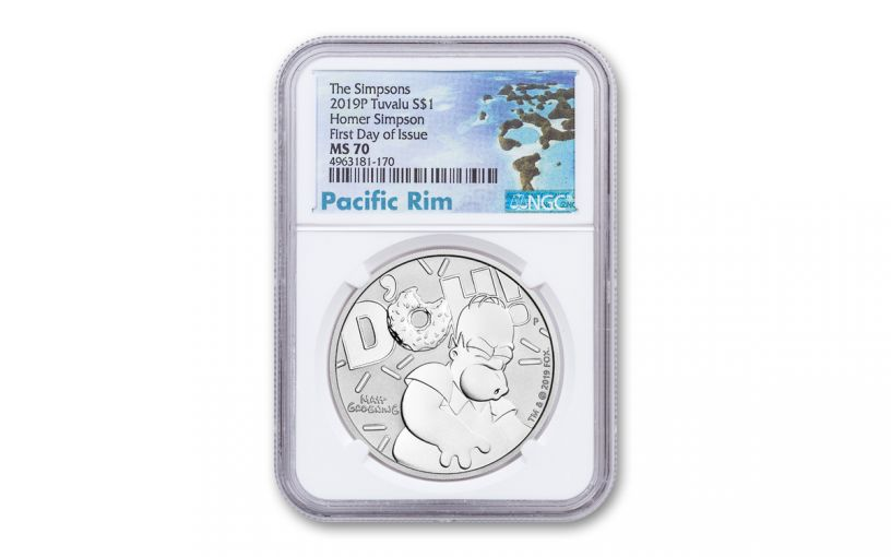 2019 Tuvalu $1 1-oz Silver Homer Simpson NGC MS70 First Day of Issue - Pacific Rim Label