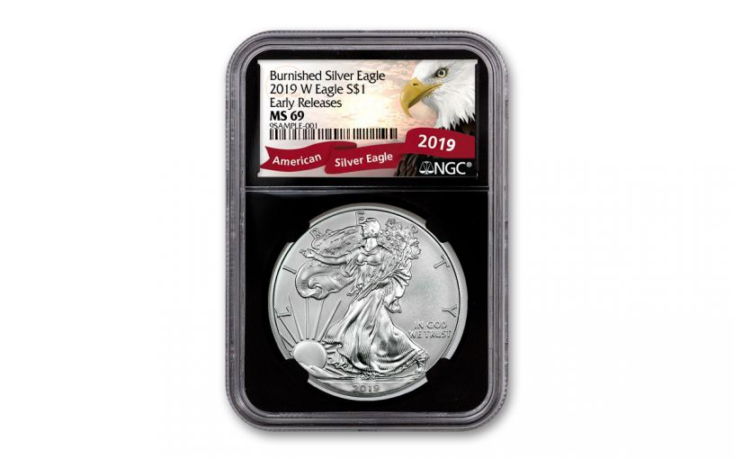 2019-W $1 1-oz Burnished Silver American Eagle NGC MS69 Early Releases - Black Core, Eagle Label