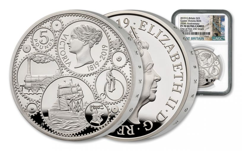 2019 Great Britain £5 Silver Queen Victoria 200th Anniversary NGC PF70UC One of First 250 Struck - Tower Bridge Label