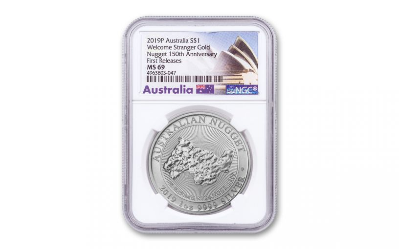 2019 Australia $1 1-oz Silver Welcome Stranger Nugget NGC MS69 First Releases - Opera House Label