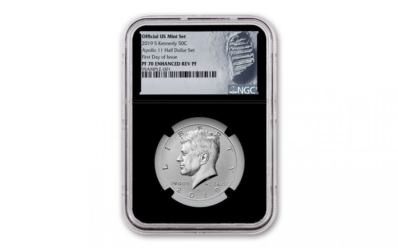 2019-S Kennedy Half Dollar Enhanced Reverse Proof NGC PF70 First Day of Issue w/Black Core and Moon Label