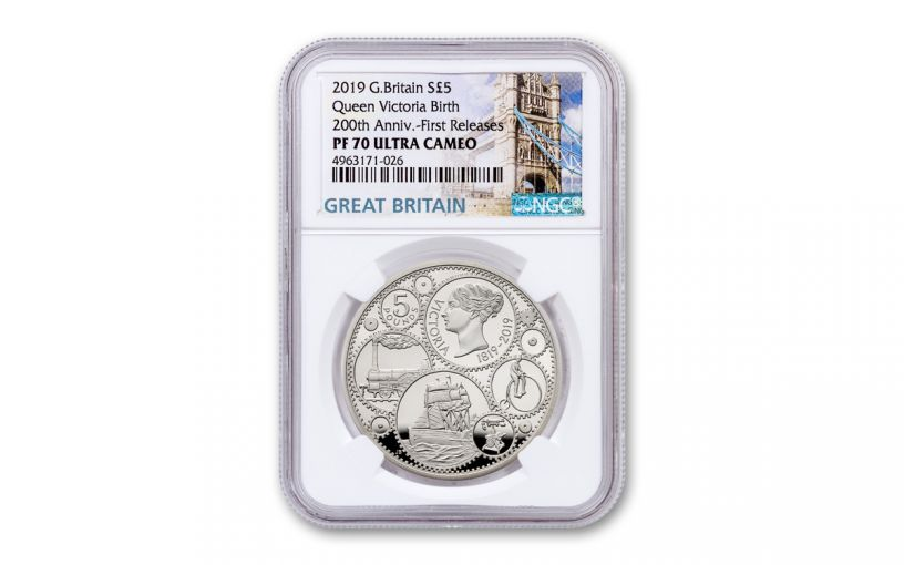2019 Great Britain £5 Silver Queen Victoria 200th Anniversary Proof NGC PF70UC First Releases