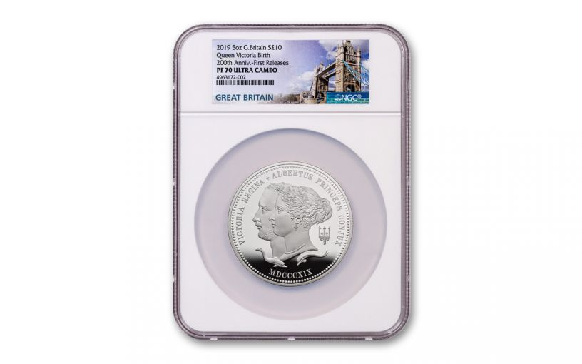 2019 Great Britain £10 5-oz Silver Queen Victoria 200th Anniversary Proof NGC PF70UC First Releases