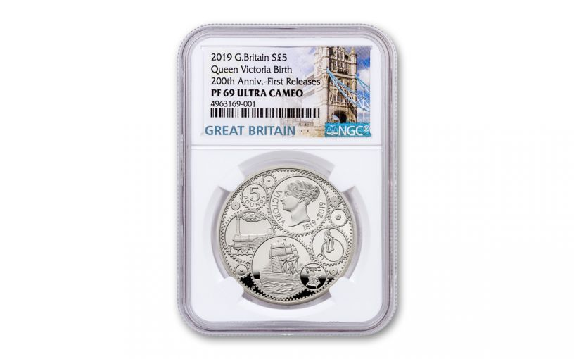 2019 Great Britain £5 Silver Queen Victoria 200th Anniversary Proof NGC PF69UC First Releases