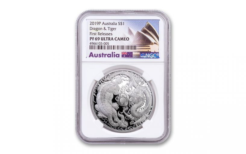 2019 Australia Tiger and Dragon 1-oz Silver NGC PF69UC First Releases Opera House Label