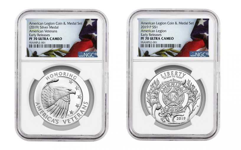 2019-P American Legion 100th Anniversary Silver Dollar Proof & Medal 2-Piece Set NGC PF70 Early Releases Black Core