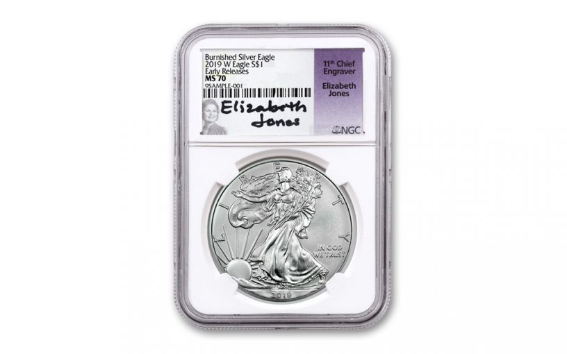 2019-W $1 1-oz Burnished Silver Eagle NGC MS70 Early Releases w/Jones Signature