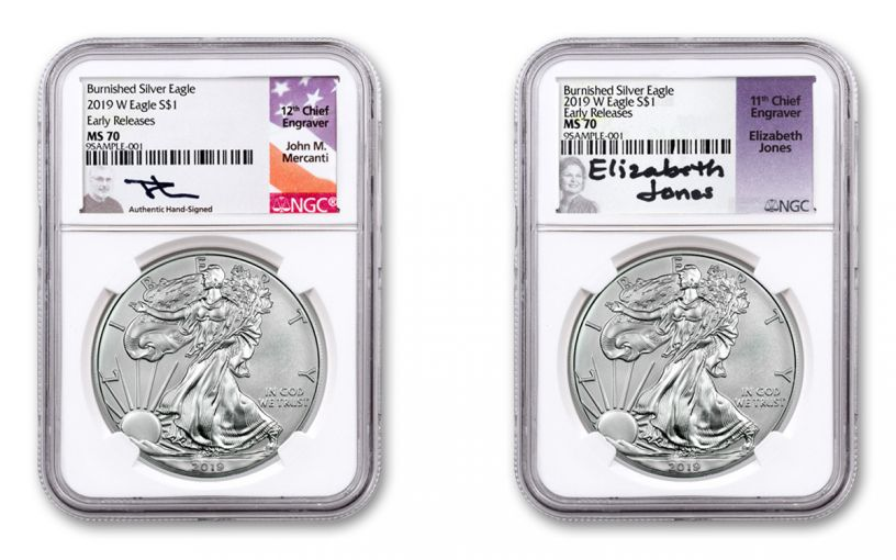 2019-W $1 1-oz Silver Burnished Eagle NGC MS70 Early Releases Mercanti-Jones Signed 2-pc Set