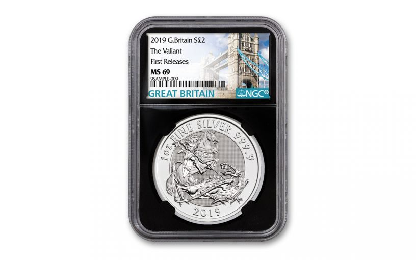 2019 Great Britain £2 1-oz Silver Valiant Saint George Incuse NGC MS69 First Releases - Black Core, Tower Bridge Label