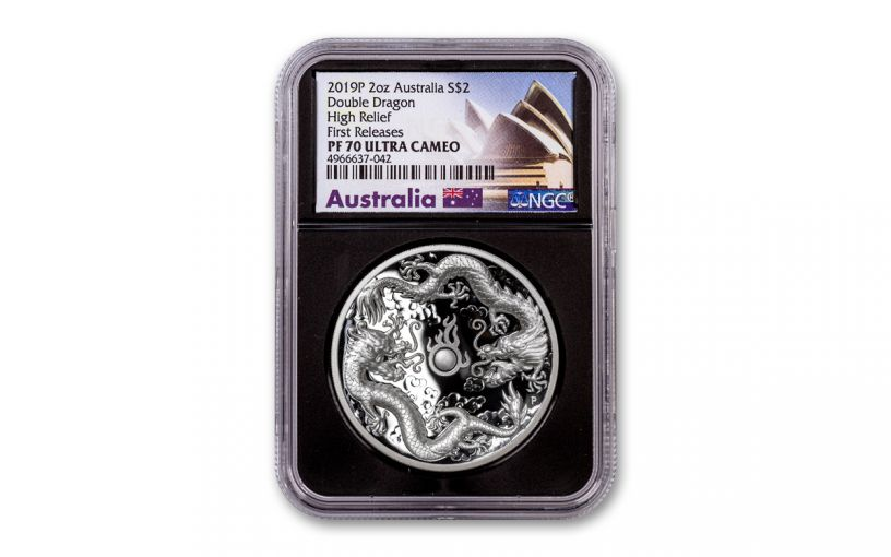 2019 Australia $2 2-oz Silver Double Dragon High Relief Proof NGC PF70UC First Releases w/Black Core & Opera House Label