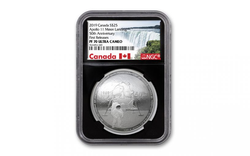 2019 Canada $25 1-oz Silver Apollo 11 50th Anniversary Domed Proof NGC PF70UC First Releases w/Black Core & Canada Label