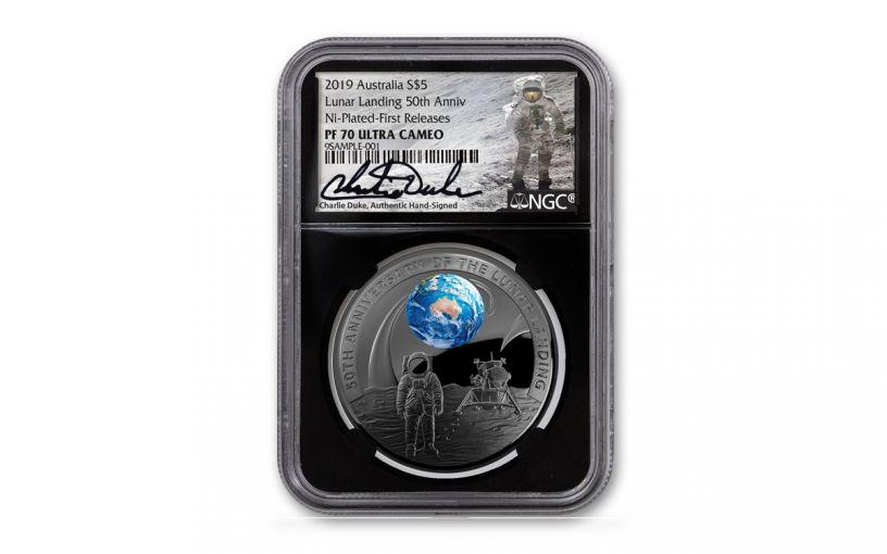 2019 Australia $5 1-oz Silver Apollo 11 Domed Colorized Proof w/Black Nickel Plating NGC PF70 First Releases Black Core & Duke Signature