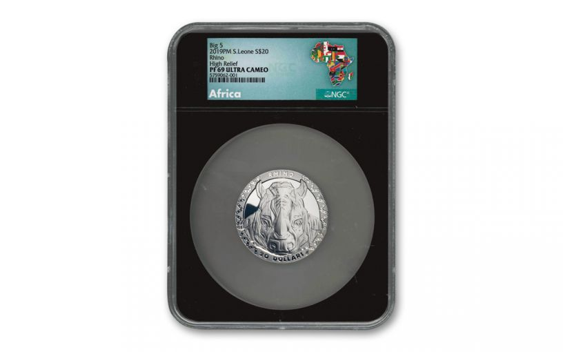 2019 $20 2-oz Silver Sierra Leone Big 5 Rhino High Relief Proof NGC PF69 w/Black Core