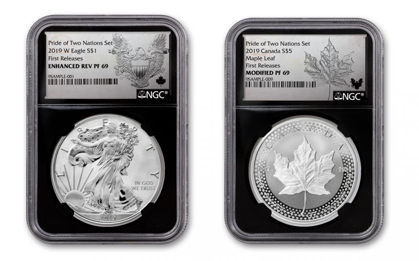 2019 United States & Canada 1-oz Silver Eagle & Maple Leaf Pride of Two Nations NGC PF69 2-Coin Set First Releases w/Black Core and Emblem Labels