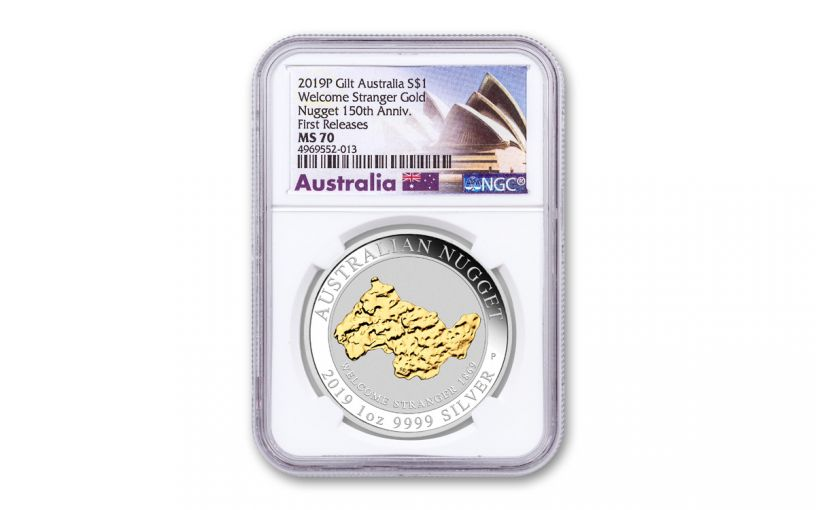 2019 Australia $1 1-oz Silver Welcome Stranger Nugget Gilded NGC MS70 First Releases w/Opera House Label