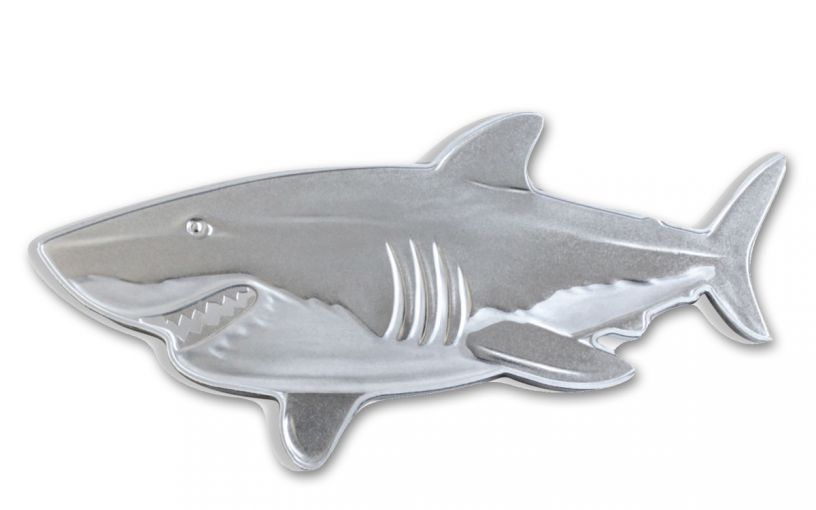 2019 Solomon Islands $2 1-oz Silver Hunters of the Deep Great White Shark Shaped Proof