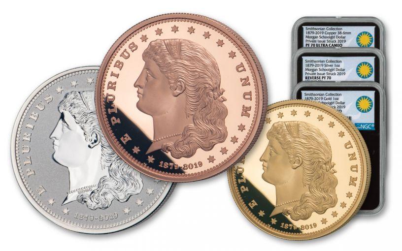 1879–2019 Smithsonian 1-oz Gold/Silver/Copper Morgan Schoolgirl Dollar 3-pc Set NGC PF70UC