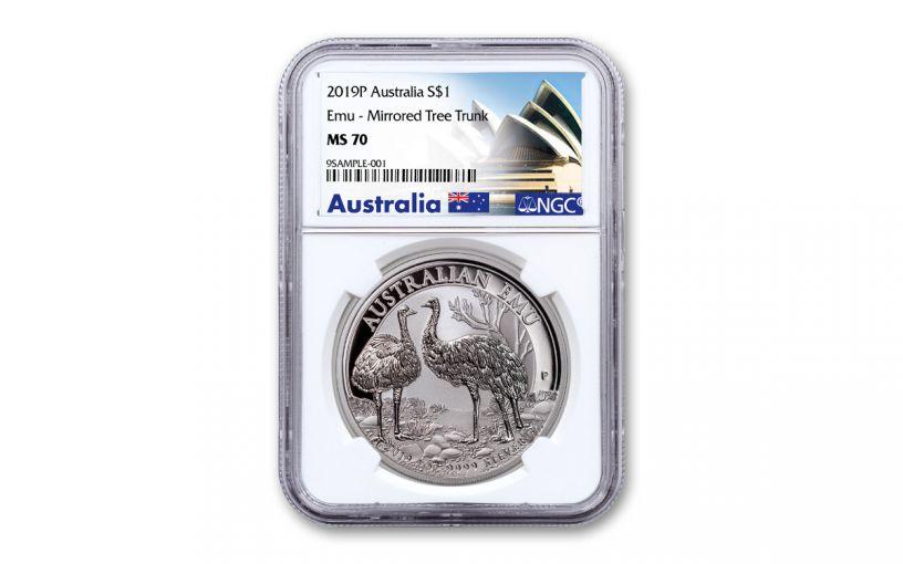 "2019 Australia $1 1-oz Silver Emu ""Mirrored Tree Trunk Variety"" NGC MS70 - Opera House Label"