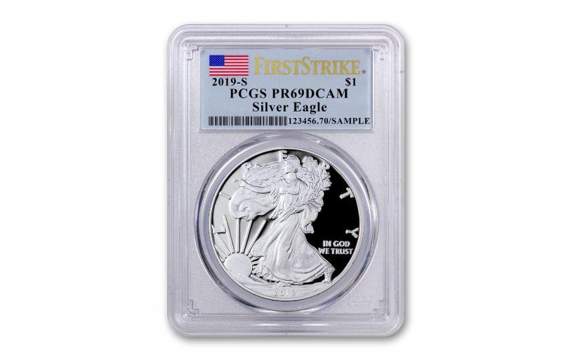 2019-S $1 Silver Eagle PCGS PR69DC First Strike w/Flag Label