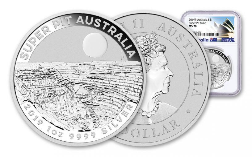 2019 Australia $1 1-oz Silver Super Pit Coin NGC MS70 w/Opera House Label