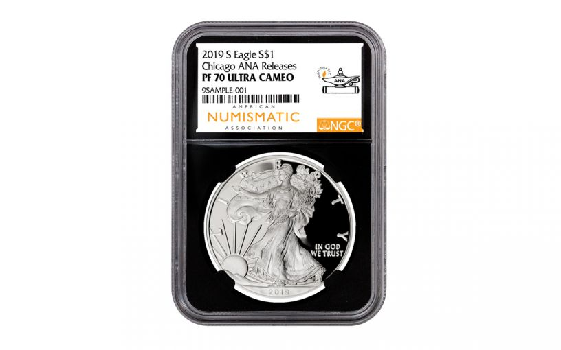 2019-S $1 Silver Eagle NGC PF70UC Chicago ANA Show Releases w/Black Core